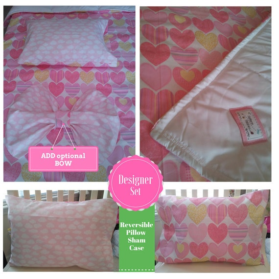 Designer Toddler Comforter Set - Pink Hearts and Clouds Comforter / Reversible Pillow Case & Optional Trendy Bow | READY to SHIP