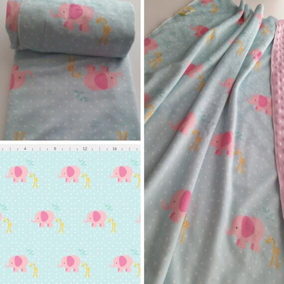 In Stock | READY to SHIP Pink Elephant & Giraffe Mint Polka Dot Minky Crib Blanket / Toddler Blanket - pink minky dot back
