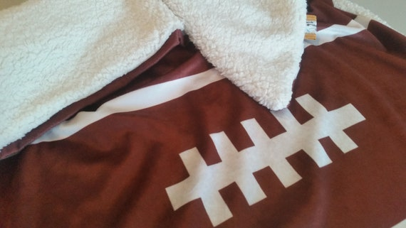 Football | READY to SHIP Minky Baby Blanket/ Toddler Blanket, Stroller/Car Blanket with Cuddly Soft faux Sherpa Back