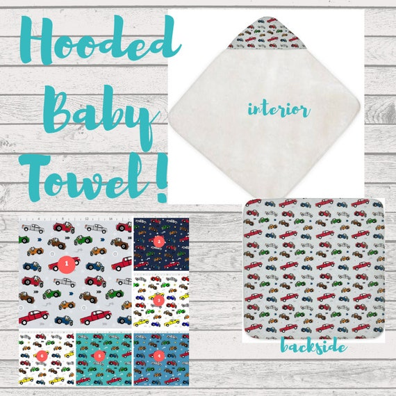 Hooded Baby Towel, Beach Towel, Bath Towel, Toddler Towel -Jeeps & Pickup Trucks | Cars and Trucks Baby Boy - can PERSONALIZE!