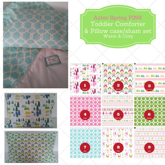 Toddler Comforter Set - Aztec Spring Pink, Custom Bedding, Pillow Case / Sham, Kids Comforter, Forest Nature Arrow Mountain Deer Quatrefoil