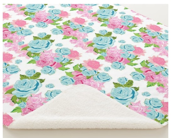 Minky Sherpa Blanket - Toddler / Baby Blanket / Sham - Crib Blanket,  24x32 Newborn, 32x50 Toddler Kids - Tropical Rose Bouquet