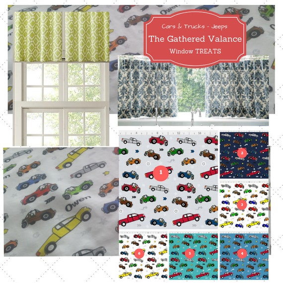 Can PERSONALIZE Custom Gathered Valance - Cafe Curtain, Cars, Trucks, Jeeps Valance, Kids Room, Baby Boy Nursery Curtain