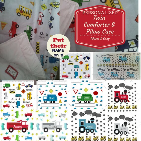 Personalized TWIN Comforter | Pillow Case Set - Trains & Trucks, School Bus, Police Car, Taxi, Kids Custom Bedding,  Kids Comforter