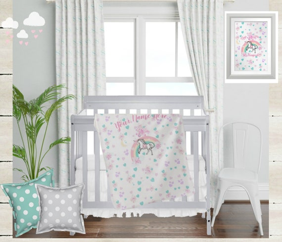 "Digital Download - Girls Nursery Wall Art - Magical Unicorn & Rainbow Print with ""You are Magical"" Quote"