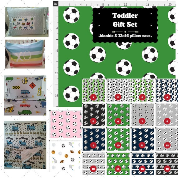 Toddler Blanket Set - Soccer Custom Bedding, Pillow Case / Sham, Kids Cotton & Minky Blanket