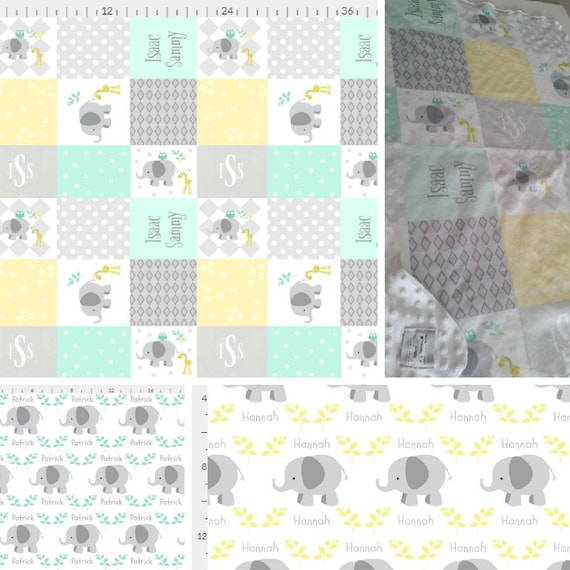 Personalized Elephant Blanket - Mint Gray Yellow Colorway | Baby and Toddler size | Girl  & Boy  | Organic Cotton Knit or Double Gauze