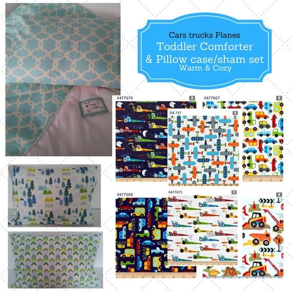 Toddler Comforter Set - Cars Trucks & Planes, Custom Bedding, Pillow Case / Sham, Kids Comforter, Race Car Bedding