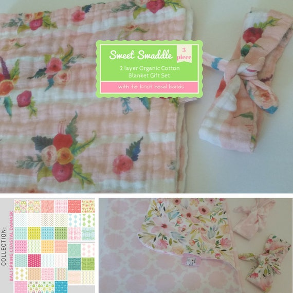 LARGE Reversible Muslin Sweet Swaddle Gift Set - Organic Sweet Pea Gauze Baby / Toddler Blanket & Headband Set -Bali Spring Coastal Damask