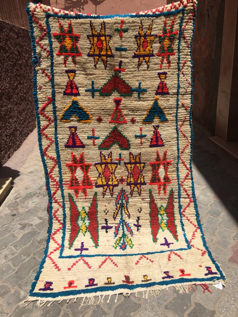 Moroccan vintage Azilal Rug, Shipping Inclueded 225x120cm