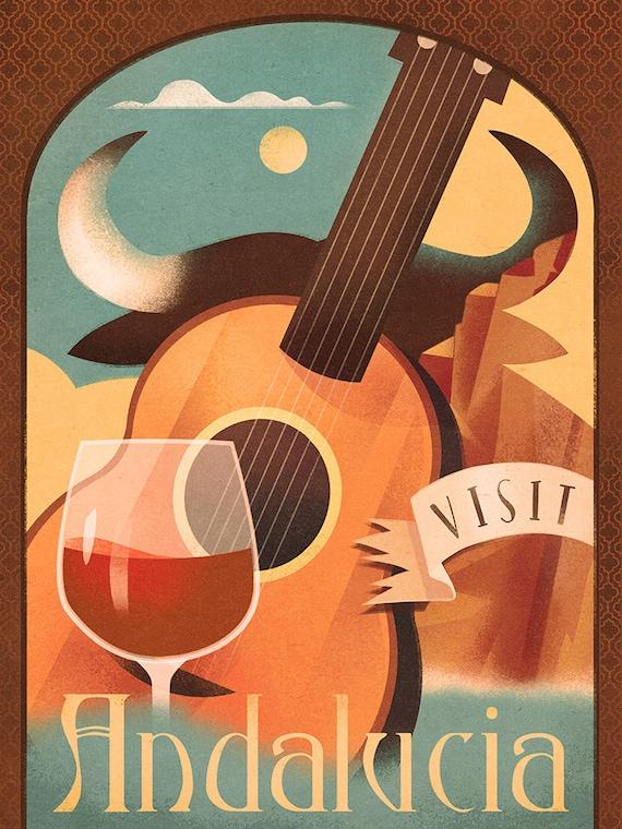 Andalucia Spain Europe Vintage Travel Advertisement Art Poster Print