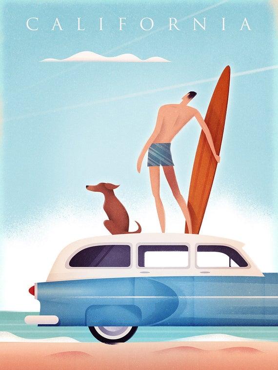 Printable Surf Life Photo Modern Surf Decor Gift For Him Retro Van Beach Photography Collage Beach Poster California Wall Art Print