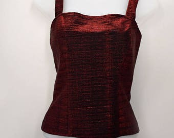 Dressy Top,Black And Red Sparkly Shiny,by Formula X,Size S