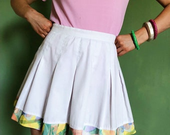 ba76ad5336 seventies rare white pleated cheer skirt with colorful floral trim
