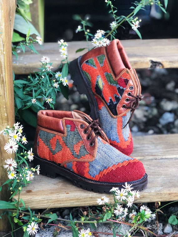 colorful tapestry lace up kilim boots / booties wi