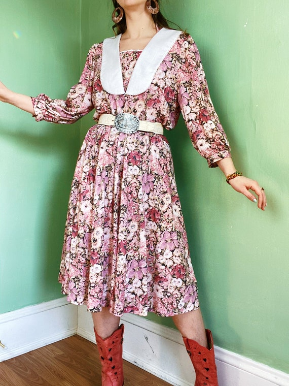 eighties rosy pink floral set of matching separate