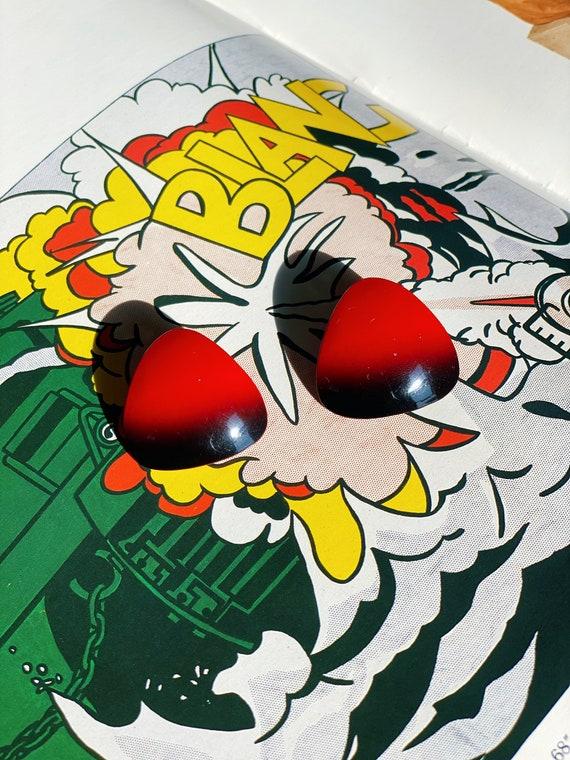 vintage blood red & black ombré earrings