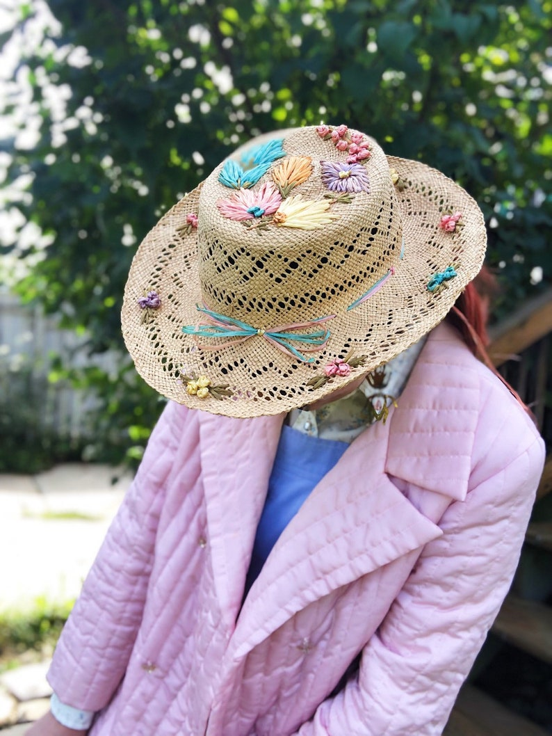 vintage rainbow embroidered floral woven straw hat