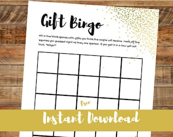 Printable Bridal Shower Game, Downloadable Gift Bingo Wedding Shower Game, INSTANT DOWNLOAD, Fun Gift Bingo Game, Gold