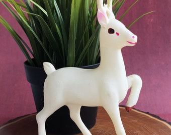 White Celluloid Christmas Deer / Made in Japan