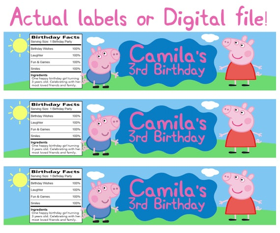 Water Bottle Name Tags: Peppa Pig Water Bottle Labels Personalized With Your