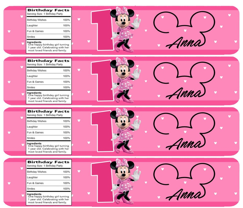 image about Free Printable Minnie Mouse Water Bottle Labels identify Customized Minnie Mouse H2o Bottle Labels !