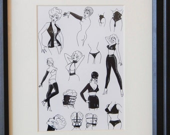 """Leather Fetish Fashion Print [8""""x10""""] Matted & Framed"""