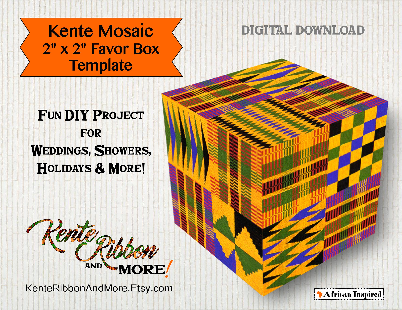 DIY Kente Mosaic 2 Favor Box Template Instant | Etsy