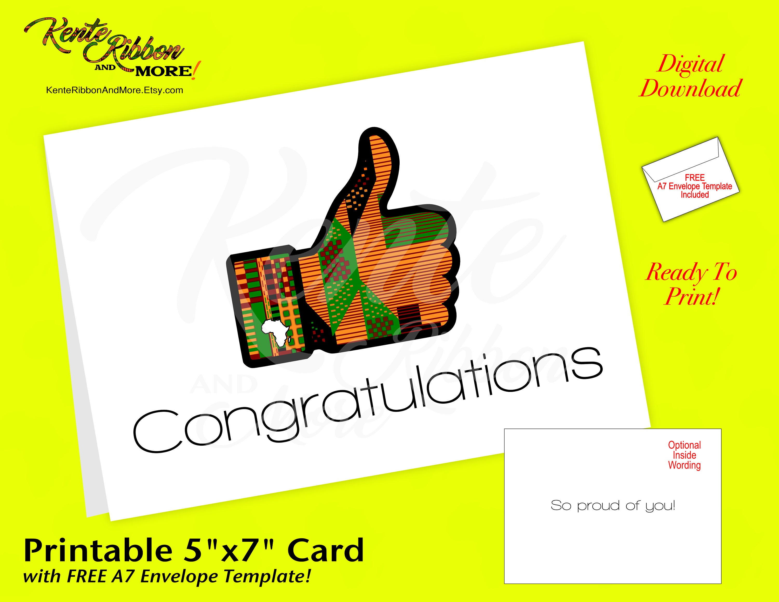 diy congratulations kente thumbs up 5x7 note card template etsy