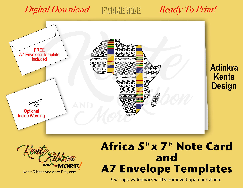 diy africa 5x7 note card template adinkra kente design etsy