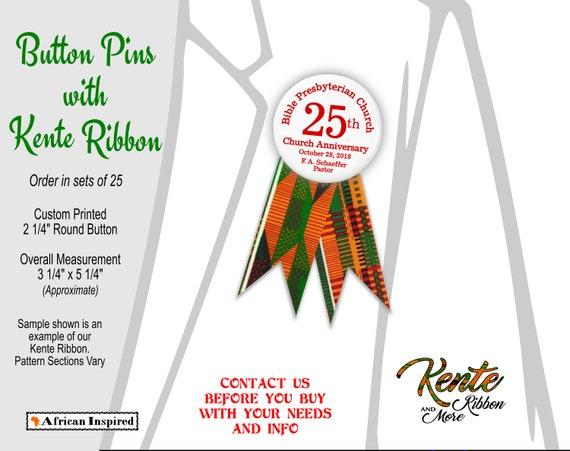 sets of 25 custom printed button pins with kente ribbons etsy