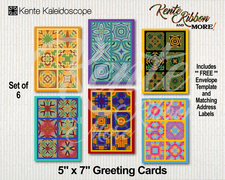 Diy Set Of 6 Printable 5x7 Greeting Card Templates In Kente Etsy