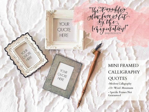 Mini Framed Calligraphy Quotes Custom Quotes Modern Etsy