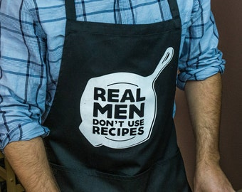 Real Men Don't Use Recipes Apron / Funny BBQ Grilling Apron / Cooks & Chefs / Large 1 Size Fits All  / Adjustable Neck / Long Waist Ties