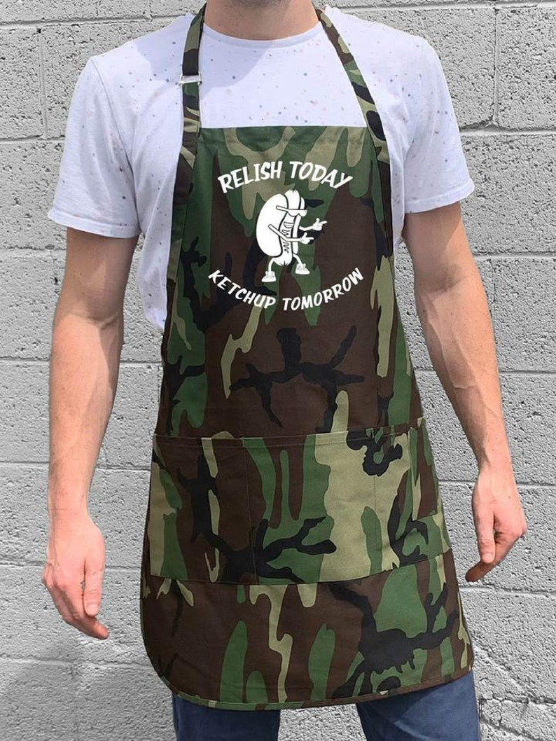 Relish Today Ketchup Tomorrow  BBQ Grill Apron for Men  Large One Size Fits All Apron w Adjustable Neck and Waist Ties