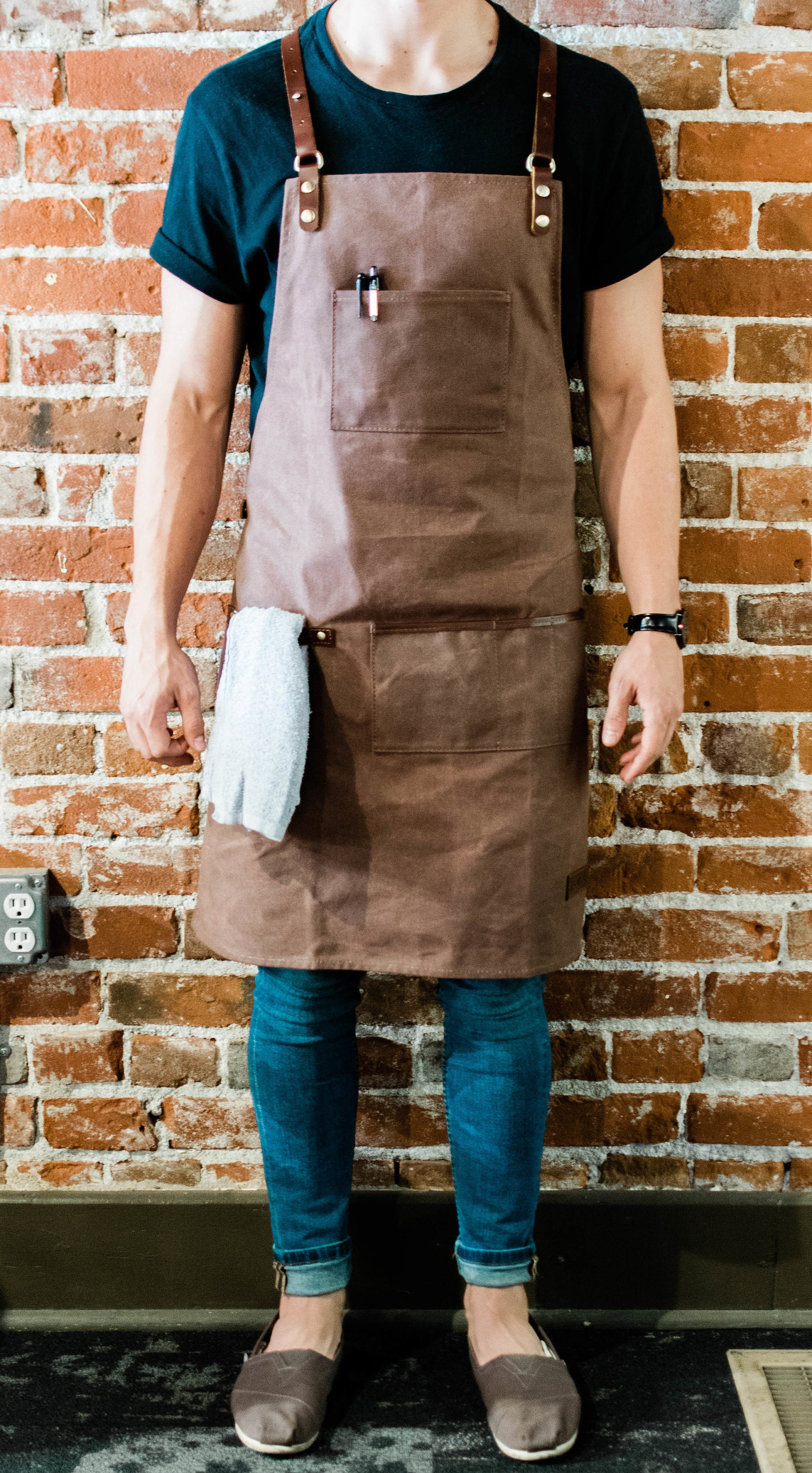 Premium Waxed Canvas Barista Apron   Genuine Leather Straps & Accents    Hickory Brown   Work Apron with Towel Holder for Coffee Shops