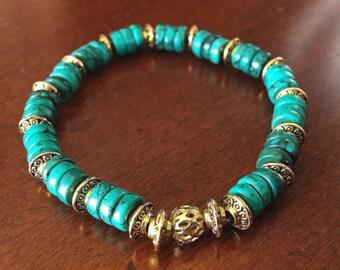 Arizona turquoise bracelet, Turquoise and gold stretch bracelet, turquoise beaded bracelet