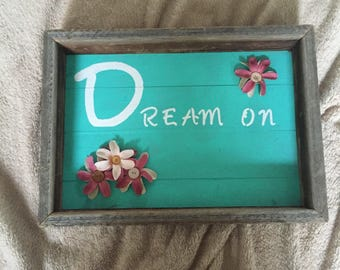 Rustic wood wall art with shadow box frame