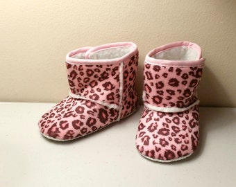 18-24 Month Baby Winter Faux Fur Leopard  Boots,  Pink Leopard Boots