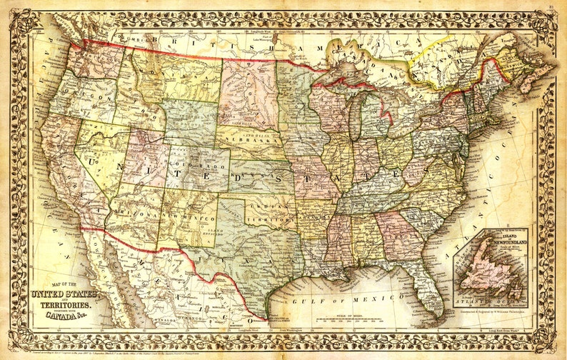 Large Map Of United States.United States Map Vintage Map Canvas Large Map Wall Art Etsy