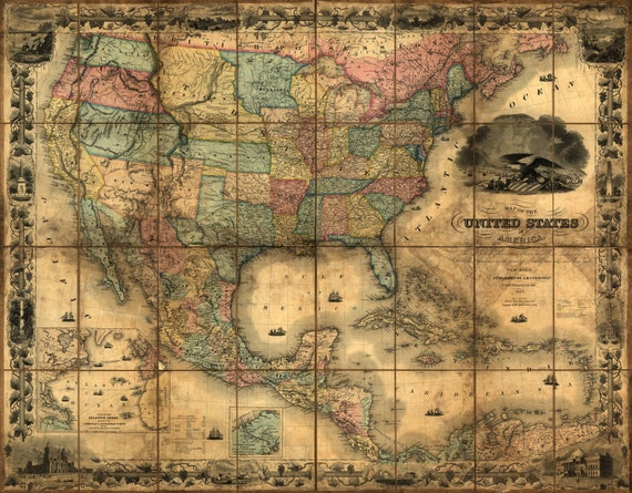 United States Map, Vintage map, Canvas large map, Wall art map, Map of  America, Vintage wall art, USA vintage map, USA Decor, Antique map