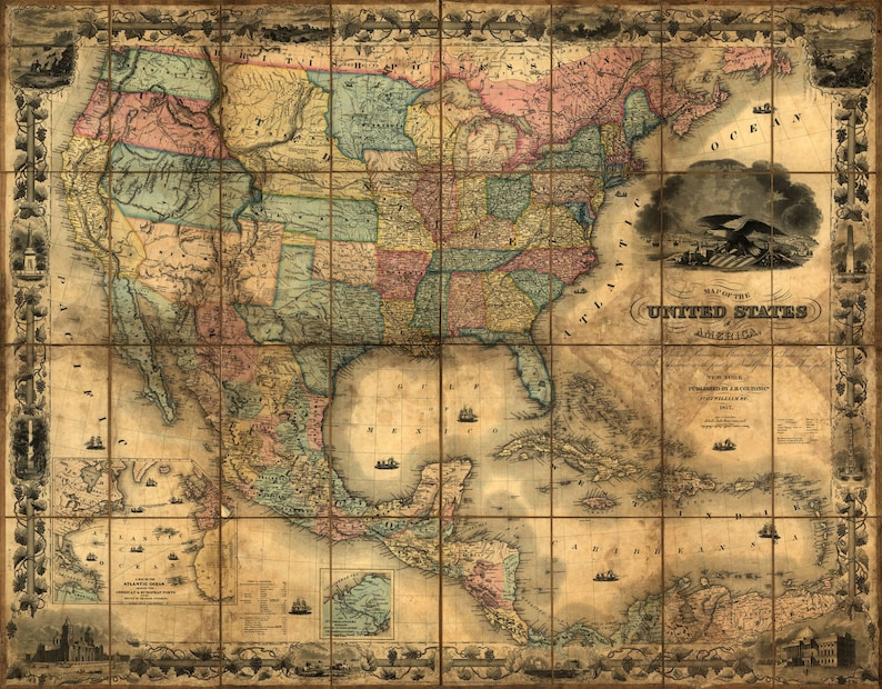 United States Map Vintage Map Canvas Large Map Wall Art Etsy