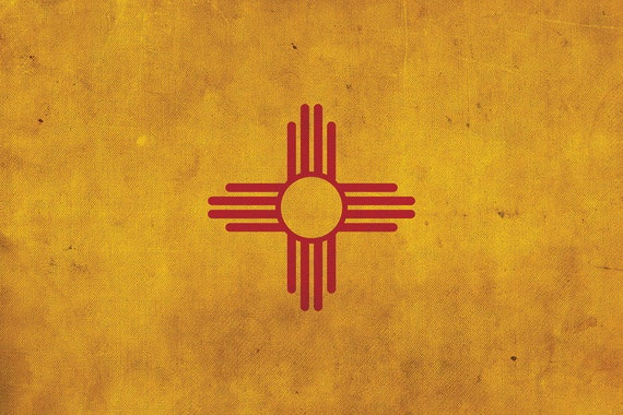 Vintage New Mexico Flag On Canvas New Mexico Flag Wall Art Etsy