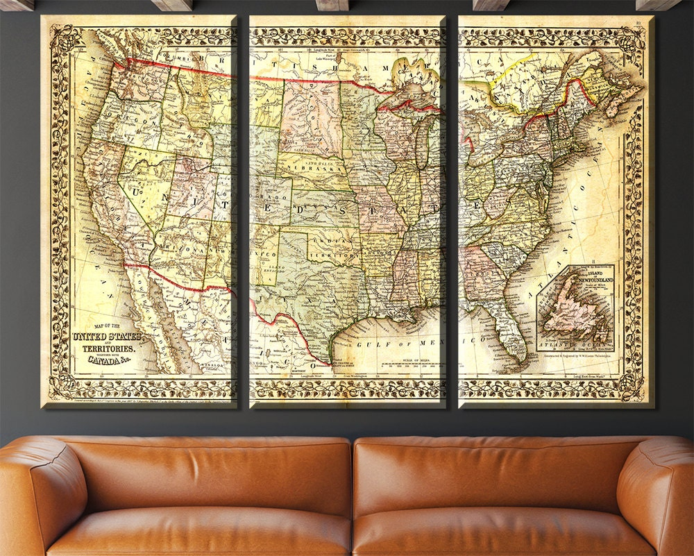 United States Map, Vintage map, Canvas large map, Wall art map, Map ...