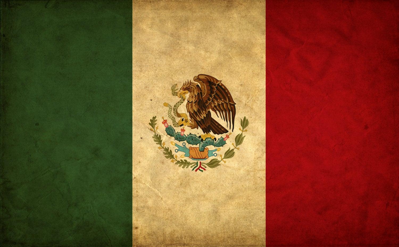 Vintage Mexico Flag on Canvas, Mexico Wall Art, Mexico Photo flag on ...
