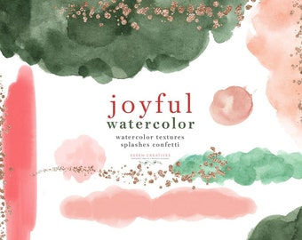 Watercolor Splash Brush Strokes Clipart, Abstract Christmas Holiday Card Clip Art, Christmas Clipart, Digital Textures Emerald Green Red PNG