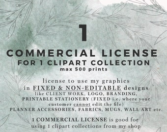 Commercial Use License, No Credit Required, SINGLE Product