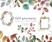 Watercolor Fall Leaves Clipart, Fall Clipart, Autumn Leaf, Thanksgiving Clipart, Wreath Clip Art, Watercolor Clipart, 5x7 Watercolor Border