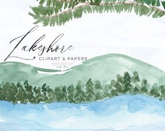 Watercolor Lake Clipart, Lakeshore Background, Ocean Lakeside Summer Coastal Tropical Clipart Texture, Nature Nautical Invitation Background