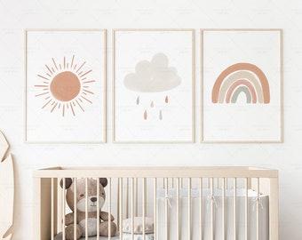 Neutral Rainbow Cloud Sun Print Set of 3 Boho Nursery Decor, PRINTABLE Gallery Wall Prints Watercolor Poster for Kids Room, DIGITAL DOWNLOAD